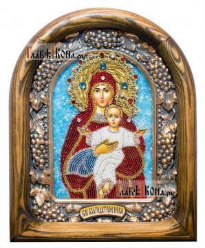 """Божия Матерь """"Благодатное Небо"""", икона из бисера артикул ДВ71104"""