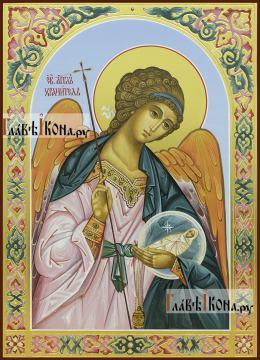 Святой Ангел Хранитель, писаная икоан в подарочном оформлении (чеканка, узоры)
