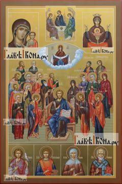 Семейная икона с 19-ть святыми покровителями семьи