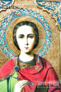 Великомученик Пантелеимон Целитель, храмовая икона, размер 60х80 см - детальный вид