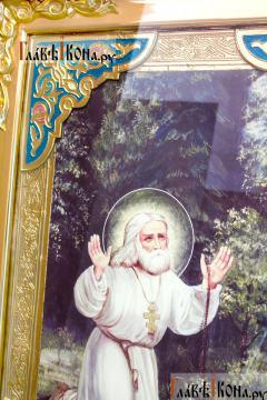 Моление Серафима Саровского на камне, храмовая икона 60х80 см - детали