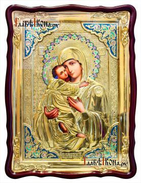 Образ Владимирской Божией Матери, храмовая икона в ризе, размер 60х80 см