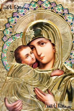 Образ Владимирской Божией Матери, храмовая икона в ризе, размер 60х80 см - лик Образа