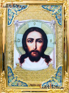 Спас Нерукотворный, икона храмовая, размер 60х80 см - детали 1