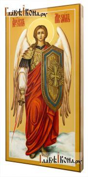 Святой Архангел Михаил, писанная икона с мечом, ростовой, артикул 6007 - вид сбоку