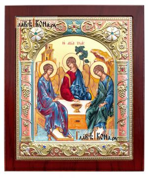 Святая Троица, икона шелкография в серебряном окладе