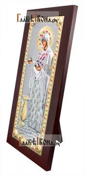 """Божия Матерь """"Геронтисса"""", икона в серебряном окладе, производство Греция - вид сбоку"""