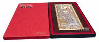"""Божия Матерь """"Геронтисса"""", икона в серебряном окладе, производство Греция - вид с упаковкой"""