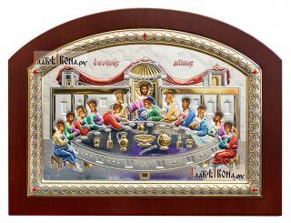 Тайная Вечеря, православная икона в серебряной ризе (Греция) - большая фотография