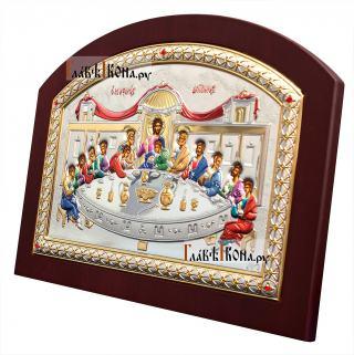 Тайная Вечеря, православная икона в серебряной ризе (Греция) - вид сбоку