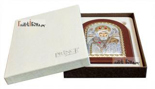 Святой Николай Чудотворец, икона в серебряном окладе, производство Греции - вид с упаковкой