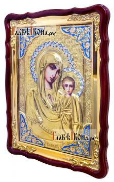 Образ Казанской Божией Матери, храмовая икона в ризе, 60х80 см - вид сбоку