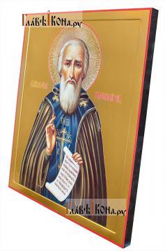 Сергий Радонежский преподобный икона, артикул 90208 - с киотом, вид сбоку