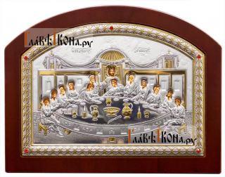 Тайная Вечеря, икона в посеребренном окладе (производство Греции) - полноразмерный вид