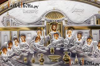 Тайная Вечеря, икона в посеребренном окладе (производство Греции) - детали