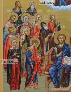 Семейная икона с 19-ть святыми покровителями семьи - образы слева