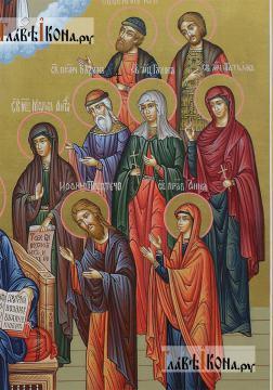 Семейная икона с 19-ть святыми покровителями семьи - образы справа