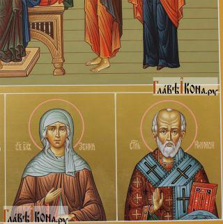 Семейная икона с 19-ть святыми покровителями семьи - предстоящие снизу справа