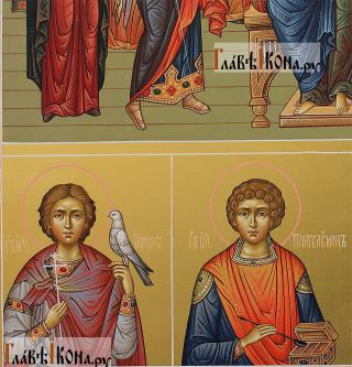 Семейная икона с 19-ть святыми покровителями семьи - предстоящие снизу слева