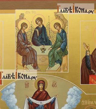 Семейная икона с 19-ть святыми покровителями семьи - образ Пресвятой Троицы