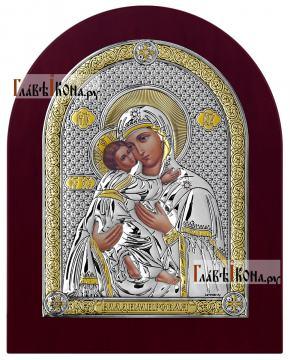 Серебряная икона Владимирской Божией Матери, производство Италия