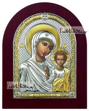 Образ Казанской Божией Матери, серебряная икона с деревянной рамкой, артикул 42003