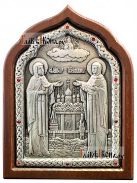 Петр и Феврония, серебряная икона с розовыми стразами, артикул 11167