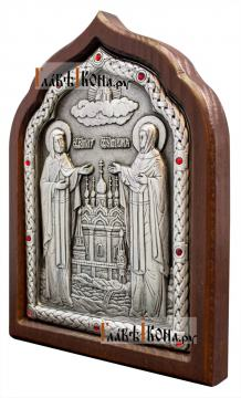 Петр и Феврония, серебряная икона с розовыми стразами, артикул 11167 - вид сбоку