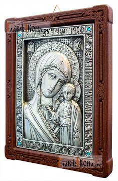 Казанская Божия Матерь, серебряная икона артикул 11180 - вид сбоку