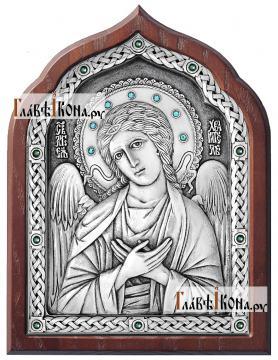 Ангел Хранитель, серебряная икона со стразами, артикул 11182