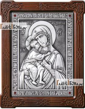 Феодоровская Божия Матерь, оформление - красные стразы, артикул 11136