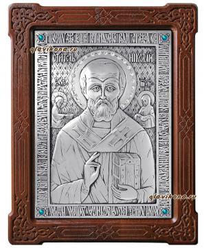 Серебряная икона святого Николая Чудотворца, артикул 10147