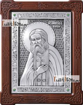 Святой Серафим Саровский, икона из серебра, артикул 11149