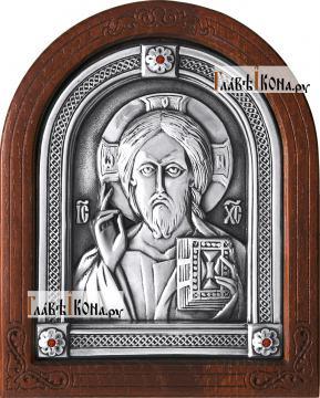 Серебряная икона Спасителя (оплечное изображение), артикул 11154