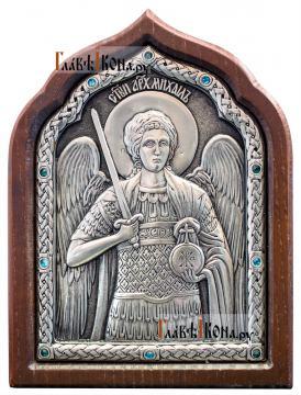 Архангел Михаил, икона серебряная со стразами, артикул 11173