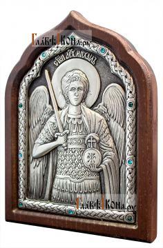 Архангел Михаил, икона серебряная со стразами, артикул 11173 - вид сбоку