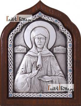 Сереребряная икона Матроны Московской со старазами, артикул 11163