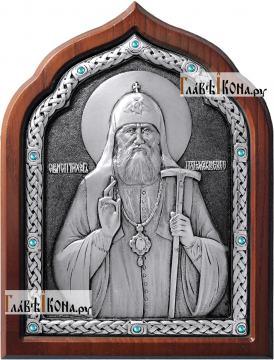 Патриарх Тихон Московский, икона из серебра, артикул 11165