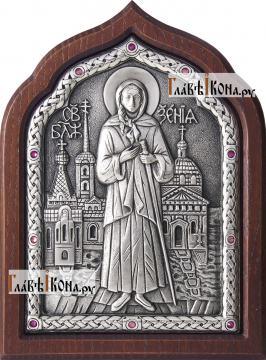 Серебряная икона Ксении Петербургской с розовыми стразами