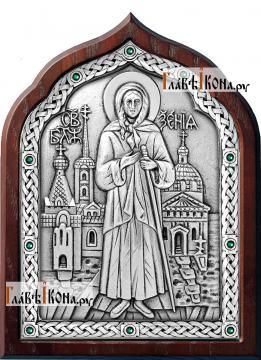 Серебряная икона Ксении Петербургской с зелеными стразами