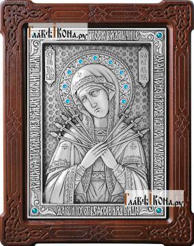 Семистрельная, серебряная икона со стразами, артикул 11187, стразы голубые