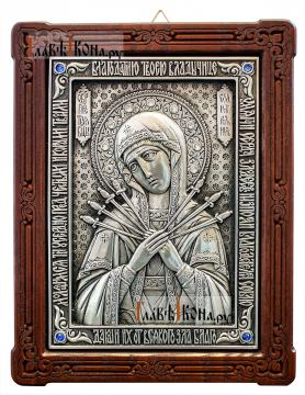 Семистрельная, серебряная икона со стразами, артикул 11187, стразы синие