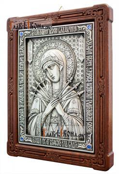 Семистрельная, серебряная икона со стразами, артикул 11187 - вид сбоку