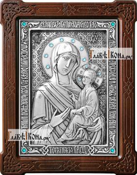 Тихвинская Божия Матерь, икона из серебра, артикул 11191
