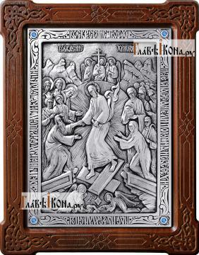 Воскресение Христово, икона из серебра, артикул 11162