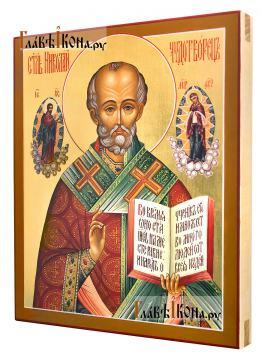 Писаная икона святителя Николая с предстоящими, артикул 514 - вид сбоку