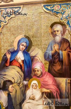 Рождество Пресвятой Богородицы, икона размером 60х80 см - детальный вид святых