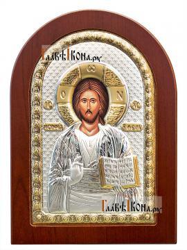 Спас Премудрый, посеребряная икона в деревянной рамке, артикул mae1107