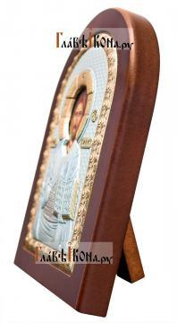 Спас Премудрый, посеребряная икона в деревянной рамке, артикул mae1107 - вид сбоку