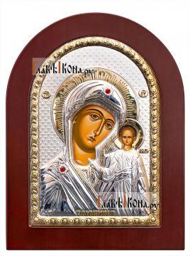 Казанская Божия Матерь, серебряная икона в деревянной рамке размер 15х21 см